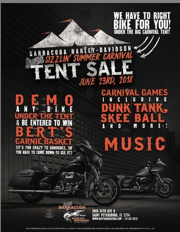 Bert's Sizzling Summer Carnival Tent Sale