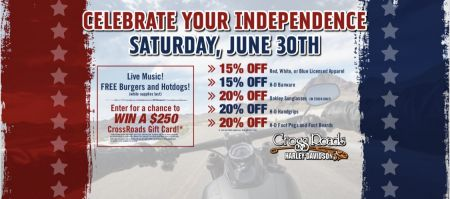 Celebrate Your Independence Saturday June 30th.