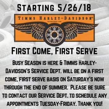 Service Dept. Saturday Summer Schedule