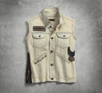 HARLEY DAVIDSON VEST-1903,SIDE ZIPPER,DENIM,TA