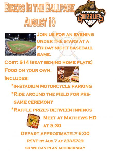 Bikers In The Ballpark August 10th