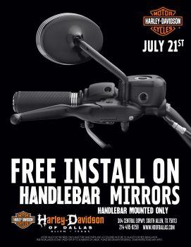 Free Install on Handlebar Mirrors !