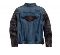 #1 Leather Sleeve Slim Fit Denim Jacket