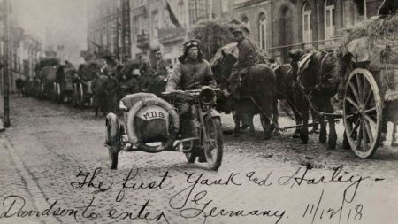 Harley-Davidson motorcycle used by American soldiers in World War I