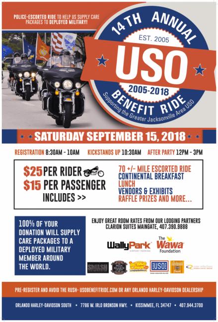 Annual USO Benefit Ride at Orlando Harley-Davidson South
