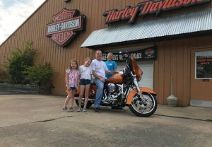 Brandon and Allison on their new Street Glide!