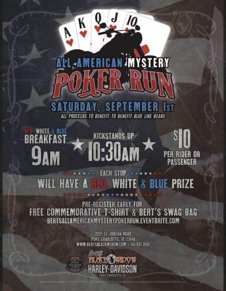 Bert's All American Mystery Poker Run - Benefits Blue Line Bears
