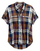 Women's  Rayon Short Sleeve  Plaid WovenShirt レーヨンプレイドシャツ