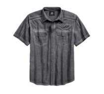 Mens Stainless Steel Washed Textured Slub Shirt