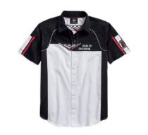 Mens Colorblocked Performance Vented Race Flag Shirt