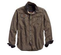 Mens Stripe Railroad Stripe Slim Fit Shirt