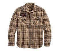 Mens Plaid Patch Printed Plaid Slim Fit Shirt