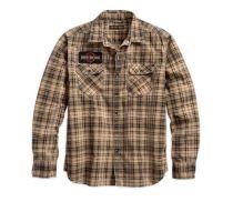 Mens Plaid Patch Printed Plaid Slim Fit Shirt