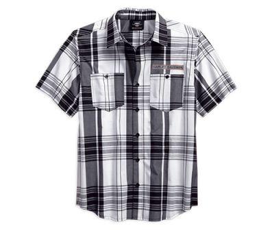 Mens Plaid High Density Print Logo Plaid Shirt