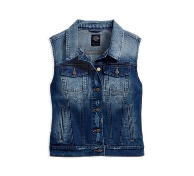 Women's Dark Indigo Fitted Denim Vest