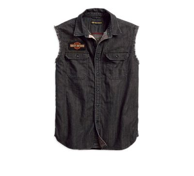 Mens Steel Grey Sleeveless Denim Slim Fit Shirt