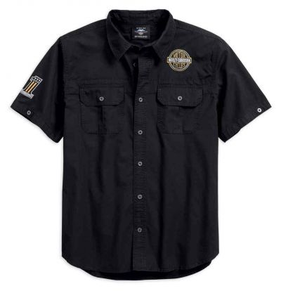 Men's Race Flag  Short Sleeve Woven Shirt