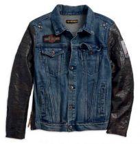 Leather Sleeve Slim Fit Denim Jacket, Blue