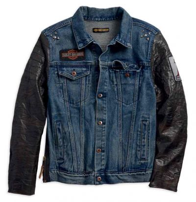 Leather Sleeve Slim Fit Denim Jacket, Blue