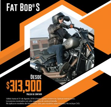 ¡Últimas 2018, aprovecha nuestra promoción en Fat Bob S!
