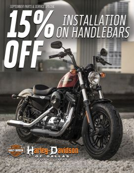 15% off of Handle installation on Handlebars!