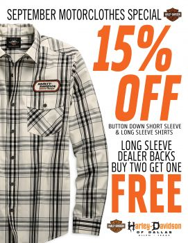 15% off of Button down short and long sleeve shirts!