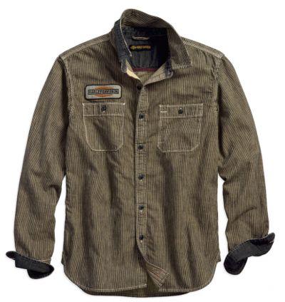 メンズ鉄道ストライプスリムフィットシャツ