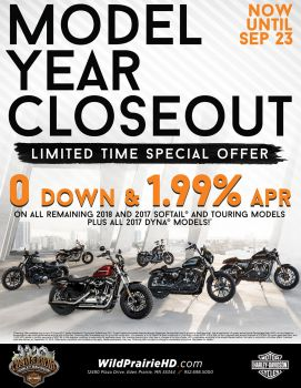 $0 DOWN 1.99% APR FINANCING ON NEW 2017 & 2018 TOURING AND SOFTAILS