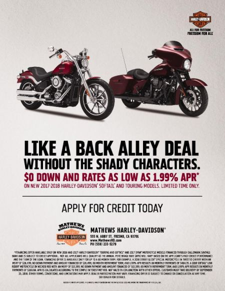 HD Promo Rates - Limted Time on New 2018 Touring & Softail models