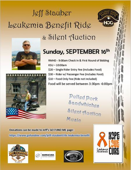 Leukemia Benefit Ride and Silent Auction for Jeff Stauber