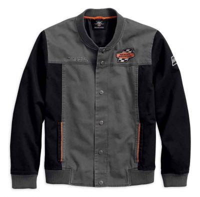 メンズスクリーミング・イーグルカジュアルジャケット、グレー&ブラック