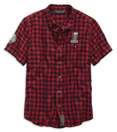 メンズチェックストライプフィットスリムフィットシャツ、赤