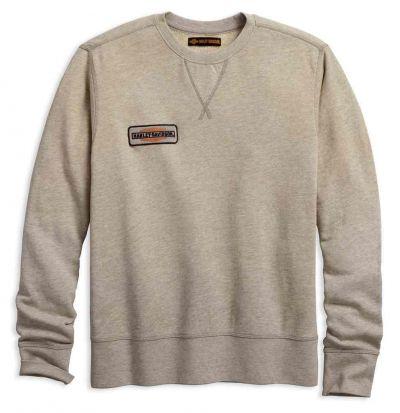 メンズキャンバスパッチスリムフィットプルオーバースウェットシャツ、タン