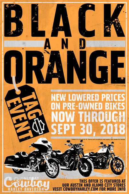 Black and Orange Tag Event