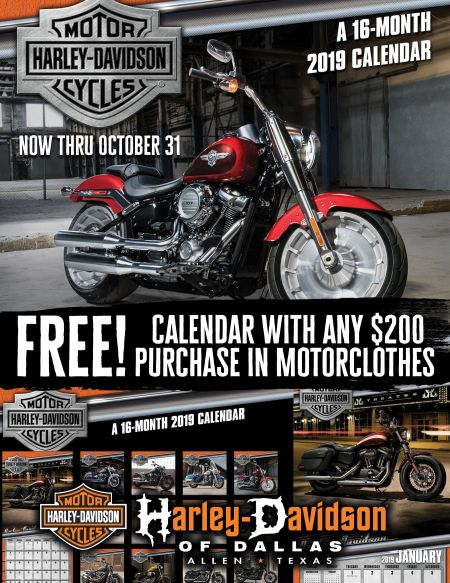Free Calendar with any $200 Purchase in Motorclothes