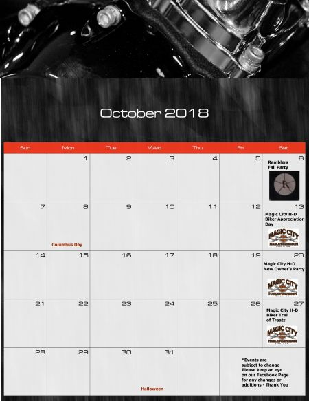 October Ride Calendar