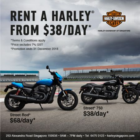 Ride a Harley® from $38/day!*
