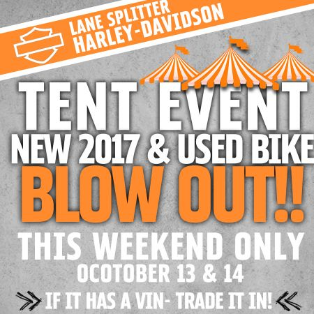 New 2017 & used bike tent event!