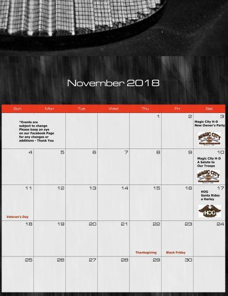 November Ride Calendar