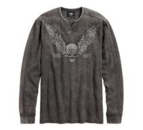 Harley-Davidson® Men's Winged Skull Waffle Knit Shirt