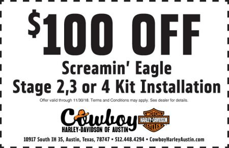 NOVEMBER SERVICE COUPON - $100 OFF SCREAMIN' EAGLE
