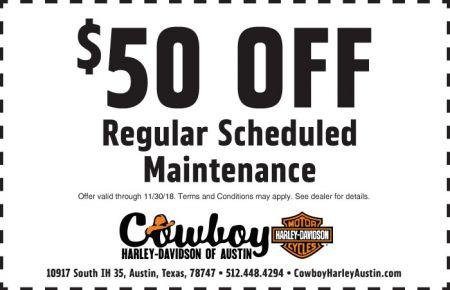 NOVEMBER SERVICE COUPON - $50 OFF REGULAR SCHEDULED MAINTENANCE