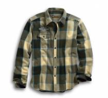 高密度プリントプレイドスリムフィット シャツ