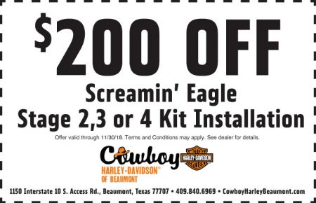 November Service Coupon - $200 off Screamin' Eagle