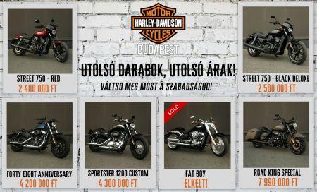 Vagány Harley-k, brutál jó árakon!
