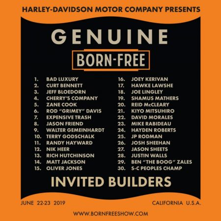 HARLEY-DAVIDSON MOTOR COMPANY PRESENTS: 'GENUINE BORN-FREE INVITED BUILDERS' JUNE 22-23RD