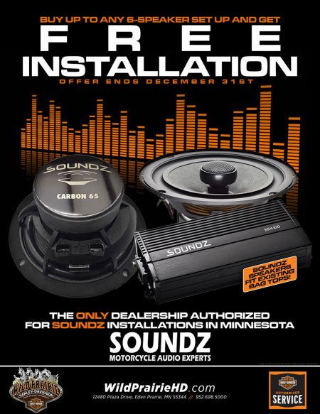 FREE installation on up to a 6 speaker Soundz Audio System!