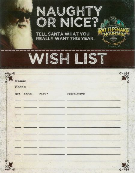 NAUGHTY OR NICE CHRISTMAS WISH LIST