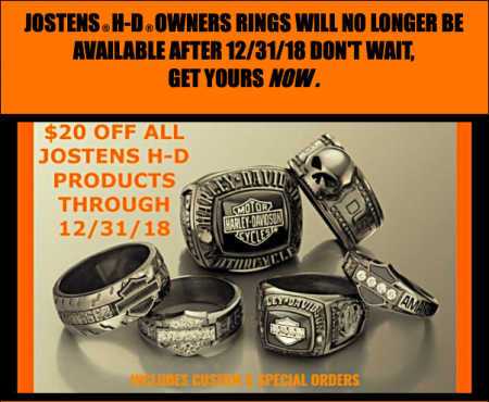 LAST CHANCE TO GET $20 OFF ALL JOSTENS® HARLEY-DAVIDSON® PRODUCT!!!