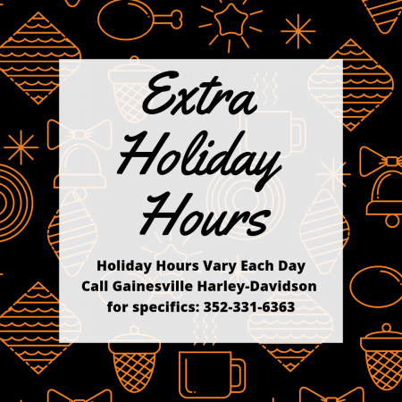 Holiday Hours - Call for Exact Times